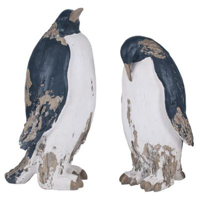 Set of 2 Polyresin Decorative Penguins