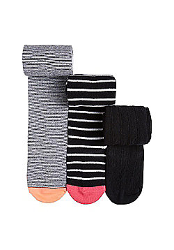 F&F 3 Pack of Striped and Cable Knit Supersoft Tights - Black & White