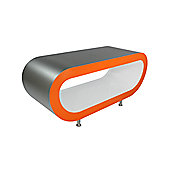 Oddball Coffee Table / Tv Stand Large - Brushed Steel - Orange - White