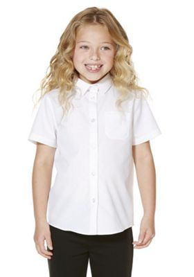 "F&F School 2 Pack of Girls Teflon EcoElite""™ Easy Care Short Sleeve Shirts 4-5 years White"