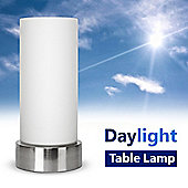 Brushed Chrome Daylight SAD Table Lamp & Frosted Glass Shade