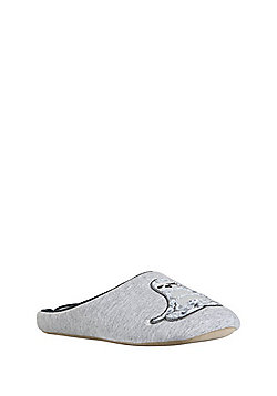 F&F Velvet Sloth Mule Slippers - Grey