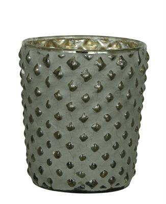 Small Smoked Clay And Glass Candle Holder