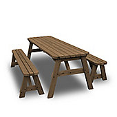 Oakham rounded picnic table and bench set - 4ft