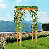 Outsunny Wood Garden Arch for Climbing Plants Stand Plant Shelf Grid Arches