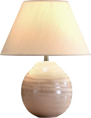 The Lighting & Interiors Group Cosmo Table Lamp - Cream - Oyster Faux Silk