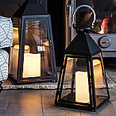 Regular Charcoal Trapeze Battery LED Candle Lantern