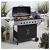 Tesco 6 Burner Gas BBQ with Side Burner & Cover, Black