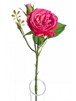 Artificial - Lydia Cabbage Rose Spray - Dark Pink