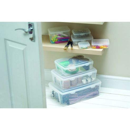 Eight Piece Storage Set Boxes with Hinged Lids