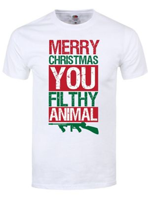 Merry Christmas You Filthy Animal White Men's T-shirt