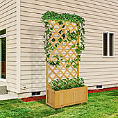 Outsunny Garden Wooden Pine Trough Planter with Topped Trellis Climbing Plants