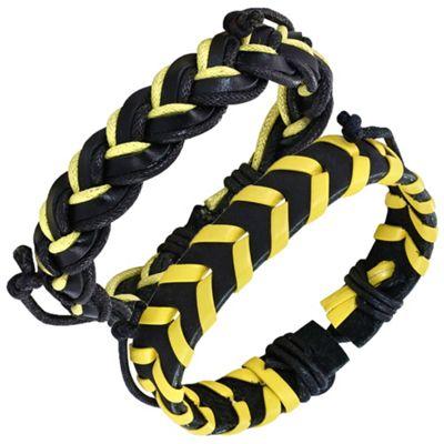 Urban Male 'Waikiki' Leather Surf Bracelet Pack for Men in Yellow & Black
