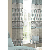 Catherine Lansfield Retro Bands Teal 66x72 Inch Eyelet Curtains