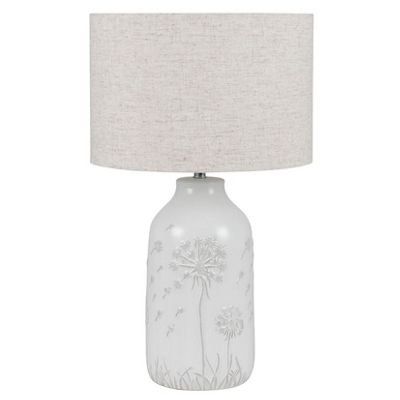 White Floral Ceramic Table Lamp Complete