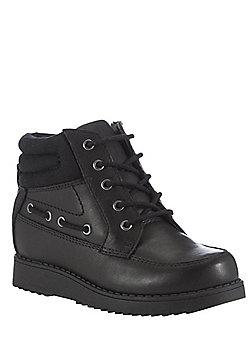 F&F Wide Fit Leather Boat School Boots - Black