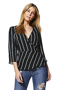 F&F Striped Wrap Blouse - Navy & Blue
