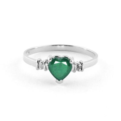 QP Jewellers Diamond & Emerald Heart Ring in 14K White Gold - Size H 1/2