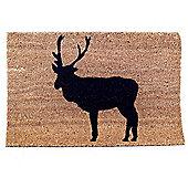 Contemporary Reindeer Silhouette Christmas Coir Doormat