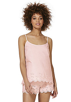 F&F Broderie Anglaise Trim Camisole and Shorts Lounge Set - Pale pink