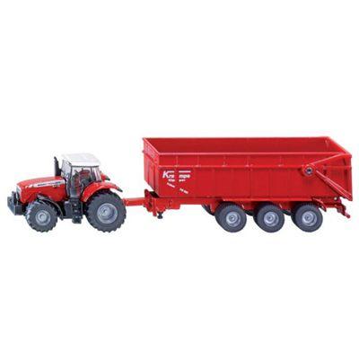 Massey Ferguson Tractor With Trailer - Scale 1:87 - Siku