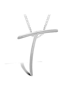 Sterling Silver 18 inch Initial Necklace Identity Pendant - Letter T