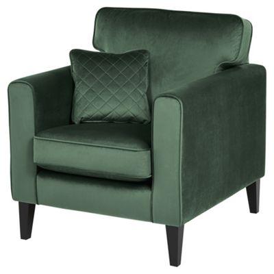 Fox & Ivy Dexter Velvet Armchair, Dark Green