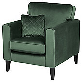 Fox & Ivy Dexter Velvet Armchair, Dark Green