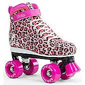 SFR Vision Canvas Kids Quad Roller Skates - Pink Leopard - Pink
