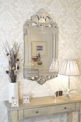Large Antique Style Detailed Venetian Wall Mirror 4Ft X 1Ft11 (122Cm X 59Cm)