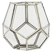 Tesco small silver  pentagonal tea light holder