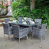 Zebrano - Sophia 1.5m x 0.9m 6 Seat Rect Dining Table - Grey