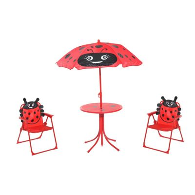 Buy Homcom Kids Garden Table Chair With Umbrella Lady Bug