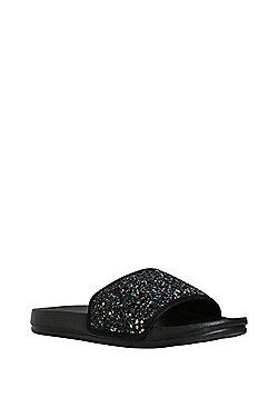 F&F Glitter Sliders - Black