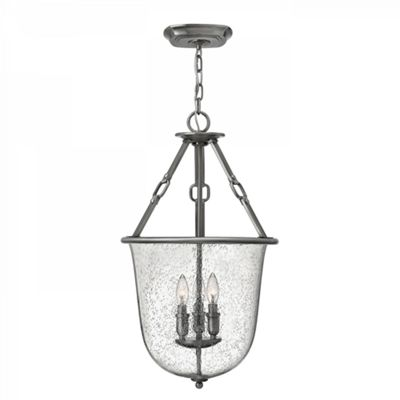Polished Antique Nickel 3lt Pendant Chandelier - 3 x 60W E14