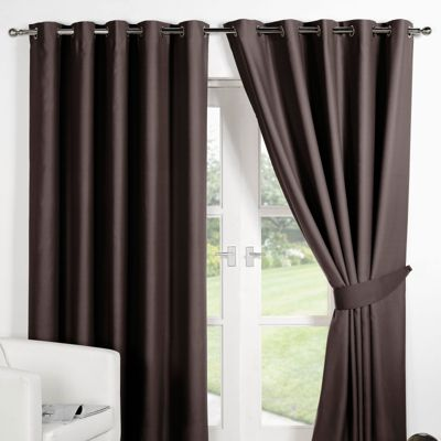 Dreamscene Pair Thermal Blackout Eyelet Curtains, Chocolate - 46