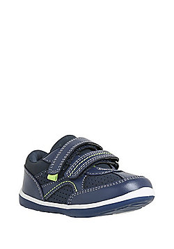 F&F My First Shoes Riptape Panelled Trainers - Navy