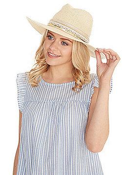 F&F Embellished Straw Fedora Hat - Natural