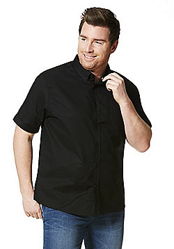 Jacamo Longer Length Short Sleeve Oxford Shirt - Black