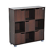 Homcom Cubic Bookcase Multi-Cells Storage Unit Cabinet (9 Cubes, Dark Coffee)