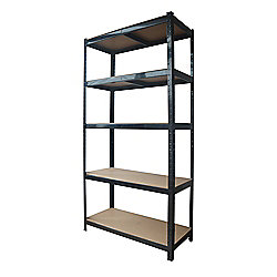 Heavy Duty 5 Tier Racking Shelves, Boltless Industrial Racking,180x120x45cm. Industrial Strength & MDF, 900Kg Capacity Garage/Shed Storage Unit -Black