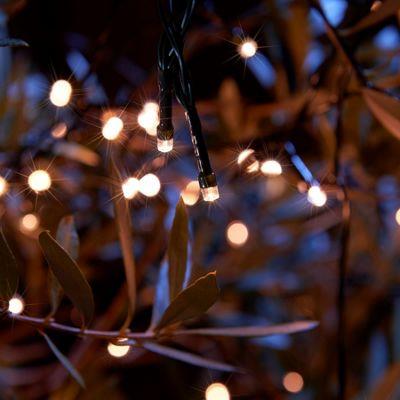 Set Of 100 Decorative LED Solar String Lights   Warm White