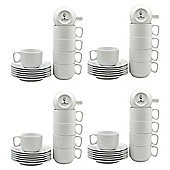 White Stacking Cup / Saucer Set - 200ml (7oz) - 24 Cups & 24 Saucers