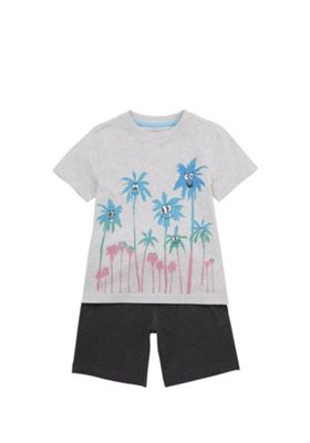 F&F Palm Tree T-Shirt and Shorts Set Grey 12-18 months