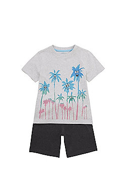 F&F Palm Tree T-Shirt and Shorts Set - Grey