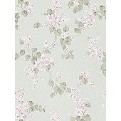 Emilia Floral Blossom Wallpaper Mint Green Rasch 501537