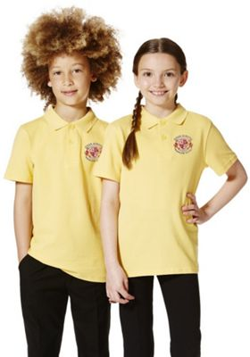 Unisex Embroidered School Polo Shirt 6-7 years Yellow