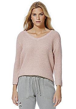 F&F Lattice Back Chunky Knit Jumper - Pale pink