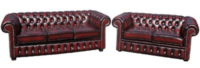 Chesterfield 3+2 Suite CRYSTALLIZED™ Diamond Leather Sofa