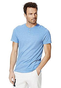 F&F Marl Grandad T-Shirt - Blue marl